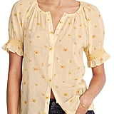 Madewell French Daisies Smocked Button-Up Top
