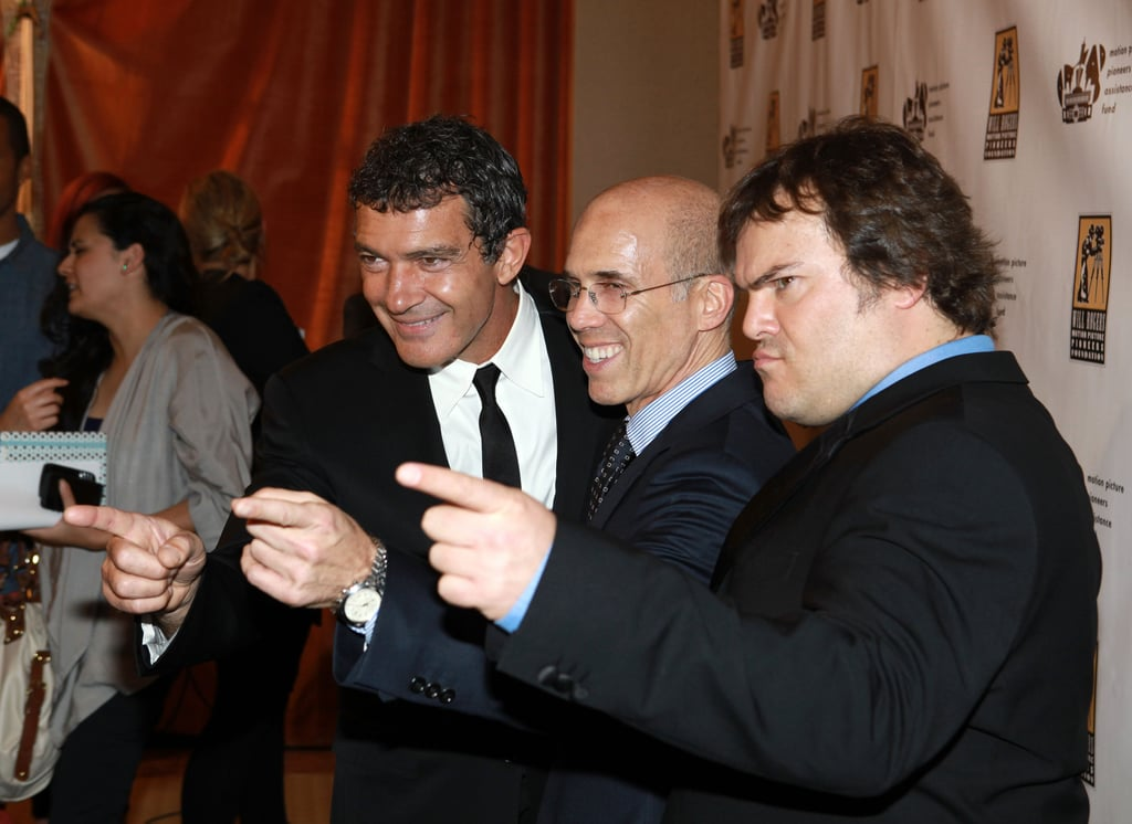 Antonio Banderas and Jack Black had fun with honoree Jeffrey Katzenberg at CinemaCon in Las Vegas.