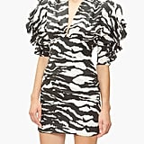 Isabel Marant Farah Puff-Sleeve Tiger-Print Silk-Blend Dress