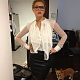 "Kate Upton showed off a ""sexy secretary"" look. Source: Twitter user KateUpton"