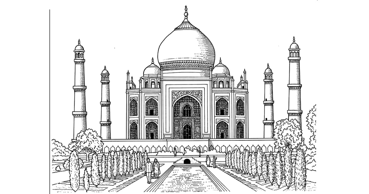 Get the coloring page: Taj Mahal | Free Coloring Pages For Adults ...