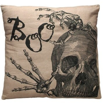 Primitives by Kathy Boo Skull Decorative Pillow ($40)