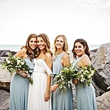 These green-blue dresses looked incredible in front of this stunning backdrop.