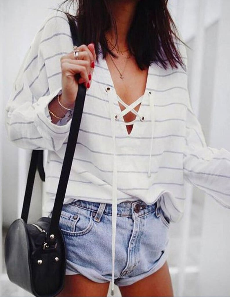USGreatgorgeous Lace-Up V Striped Top