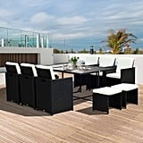 Outsunny 11-Piece Outdoor PE Rattan Wicker Table and Chair Patio Furniture Set