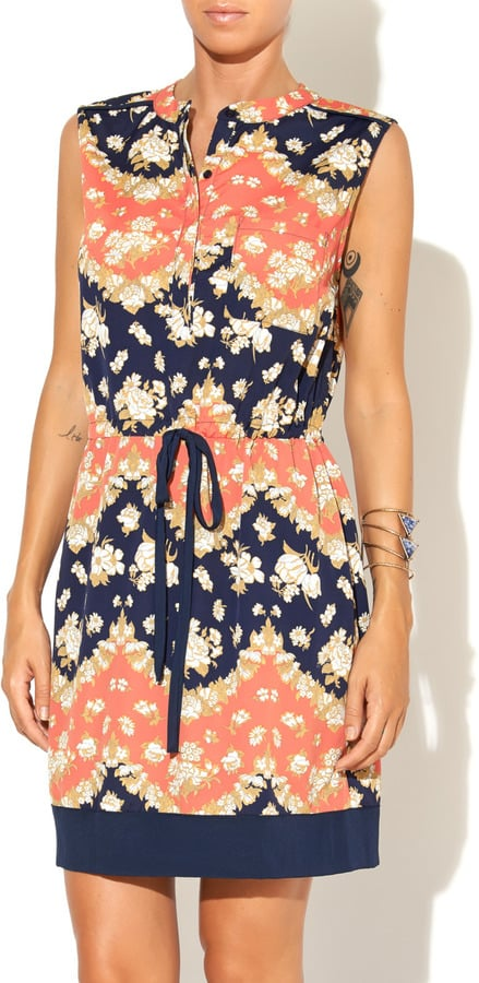 Collective Concepts Navy & Coral Floral Dress