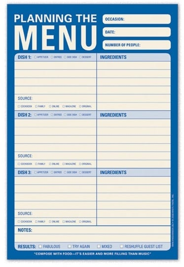 Menu Planning Pad