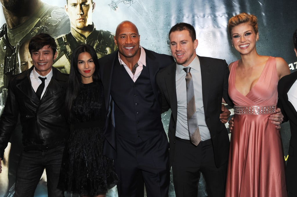 Channing Tatum Joins His G.I. Joe Costars For a Rainy Red Carpet