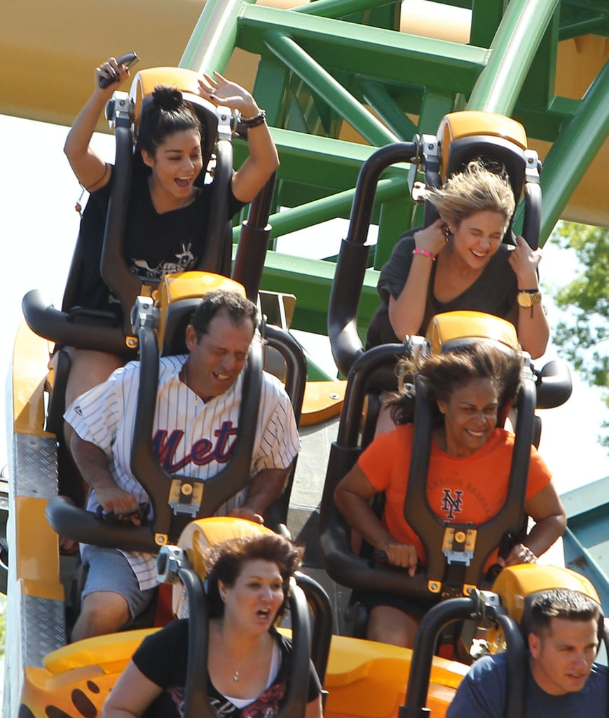 Vanessa Hudgens and Ashley Benson visited Busch Gardens on Saturday.