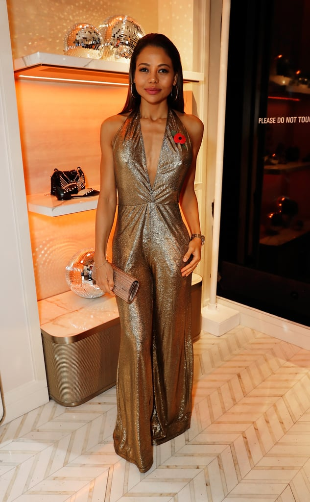 Slicked back in gold for Jimmy Choo x Annabel's party in 2017.