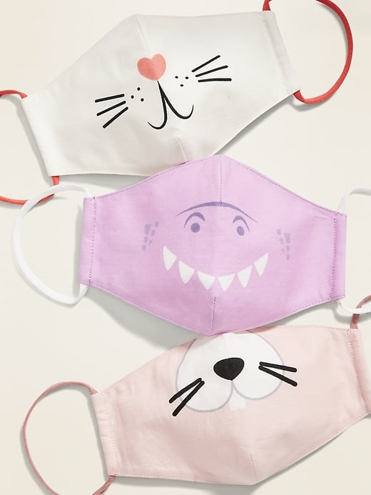 Variety 3-Pack of Triple-Layer Cloth Cotton Critter Face Masks