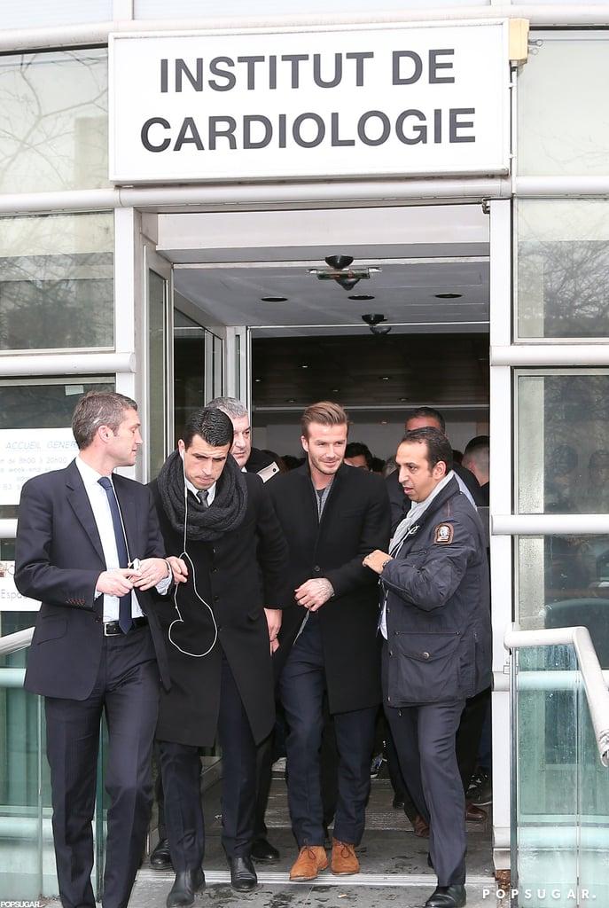 David Beckham left the hospital in Paris after his exam.
