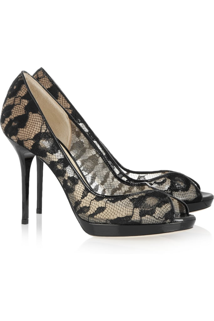 A new way to wear lace appliqués — on your feet. Jimmy Choo Belgio Lace and Patent-Leather Pumps ($850)