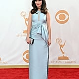 Looking polished and classy in this blue J. Mendel gown at the 2013 Emmy Awards.