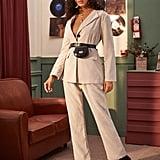 Shein Button Through Corduroy Blazer & Corduroy Pants Without Bag