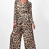 Boohoo Erin Leopard Print Wide Leg Wrap Top Co-ord