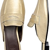 Bougeotte Gold Leather Slippers