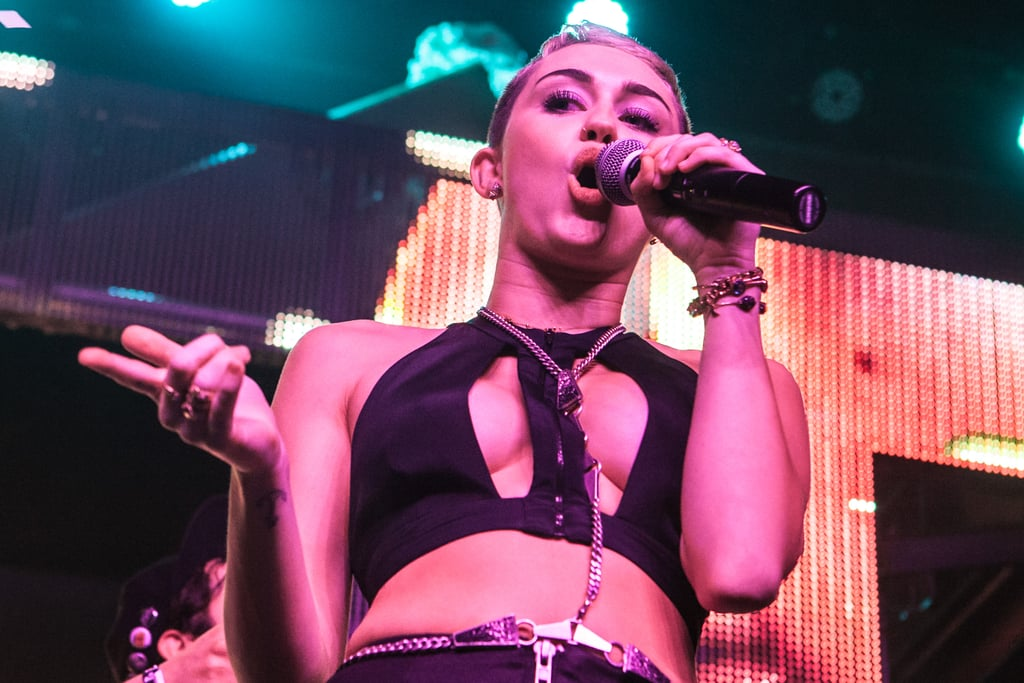 Miley Cyrus Shows Serious Skin on Stage