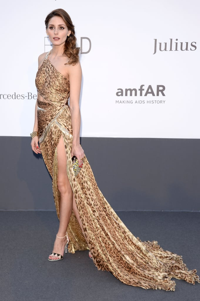 Olivia Palermo got in touch with her wild side in an animal-print Roberto Cavalli gown — hello, thigh-high slit!