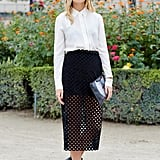 Sometimes when it is so hot out and all you want to do is wear a mini skirt or shorts, this look is the best of both worlds. By pairing a classic white silk blouse buttoned all the way up, with a high waisted long pencil skirt that is semi sheer, you can still maintain a great fashionable look that is also great for work.