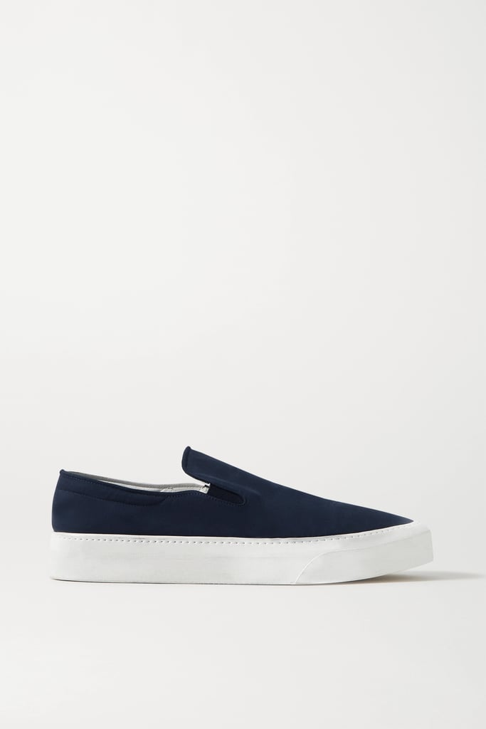 The Row Navy Marie H Canvas Slip-On Sneakers