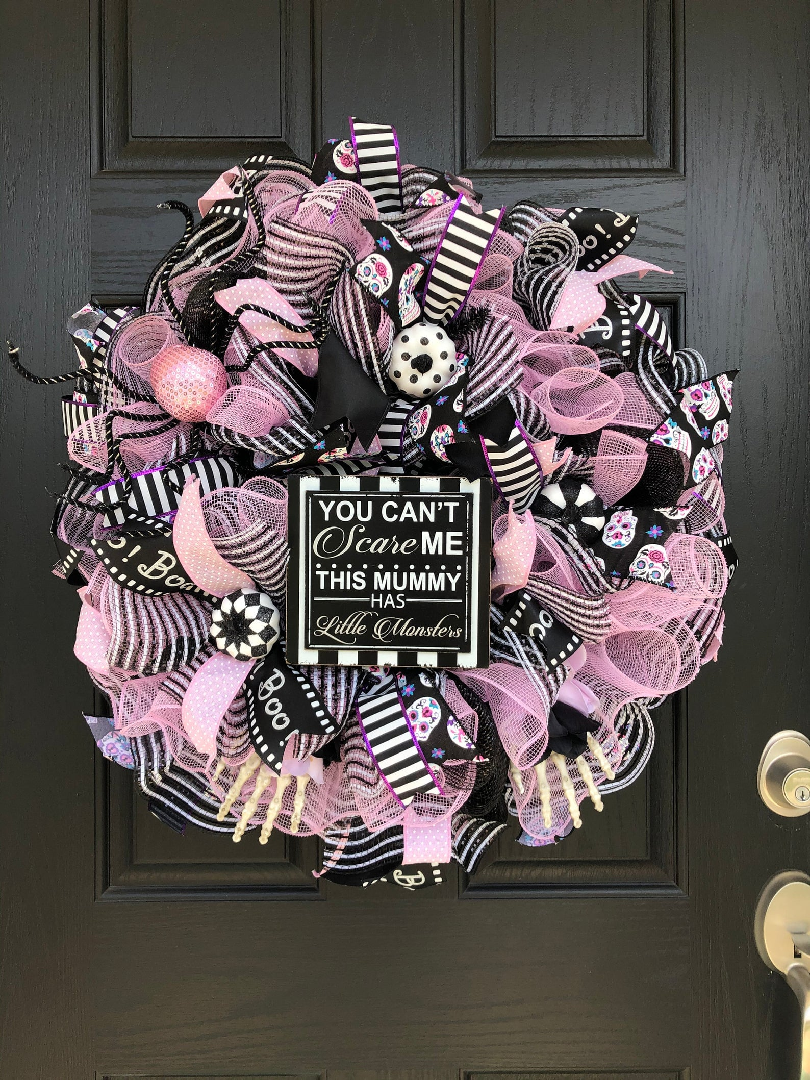 Black Pink And White Halloween Wreath 50 Pink Halloween Decorations That Are So Fetch Popsugar Home Photo 36
