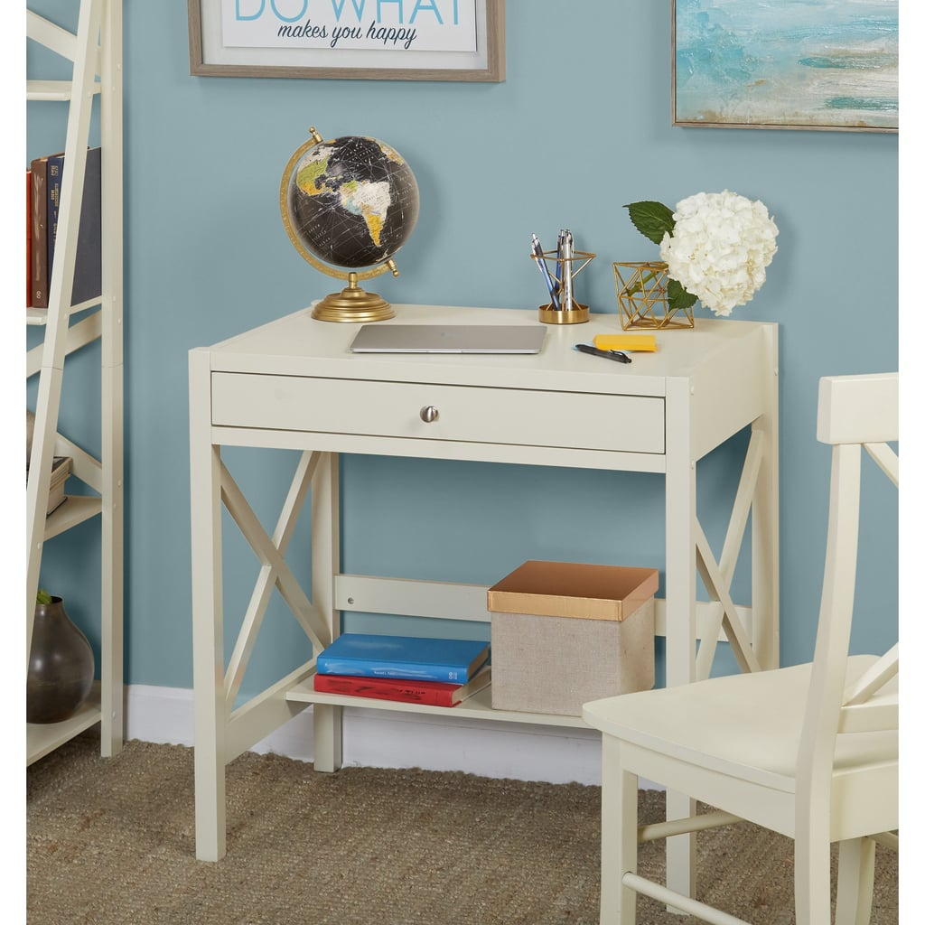 X Desk With Pullout Drawer and Shelf