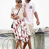 Taylor Swift made Summer style look pretty and easy in a classic button-down and a floral-print midi skirt while vacationing in Hyannis Port, MA.