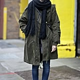 A slouchy anorak was the focal point in this dressed-down moment.