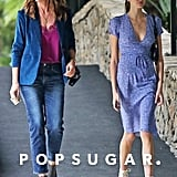 Kaia Gerber in Blue Wrap Dress With Cindy Crawford