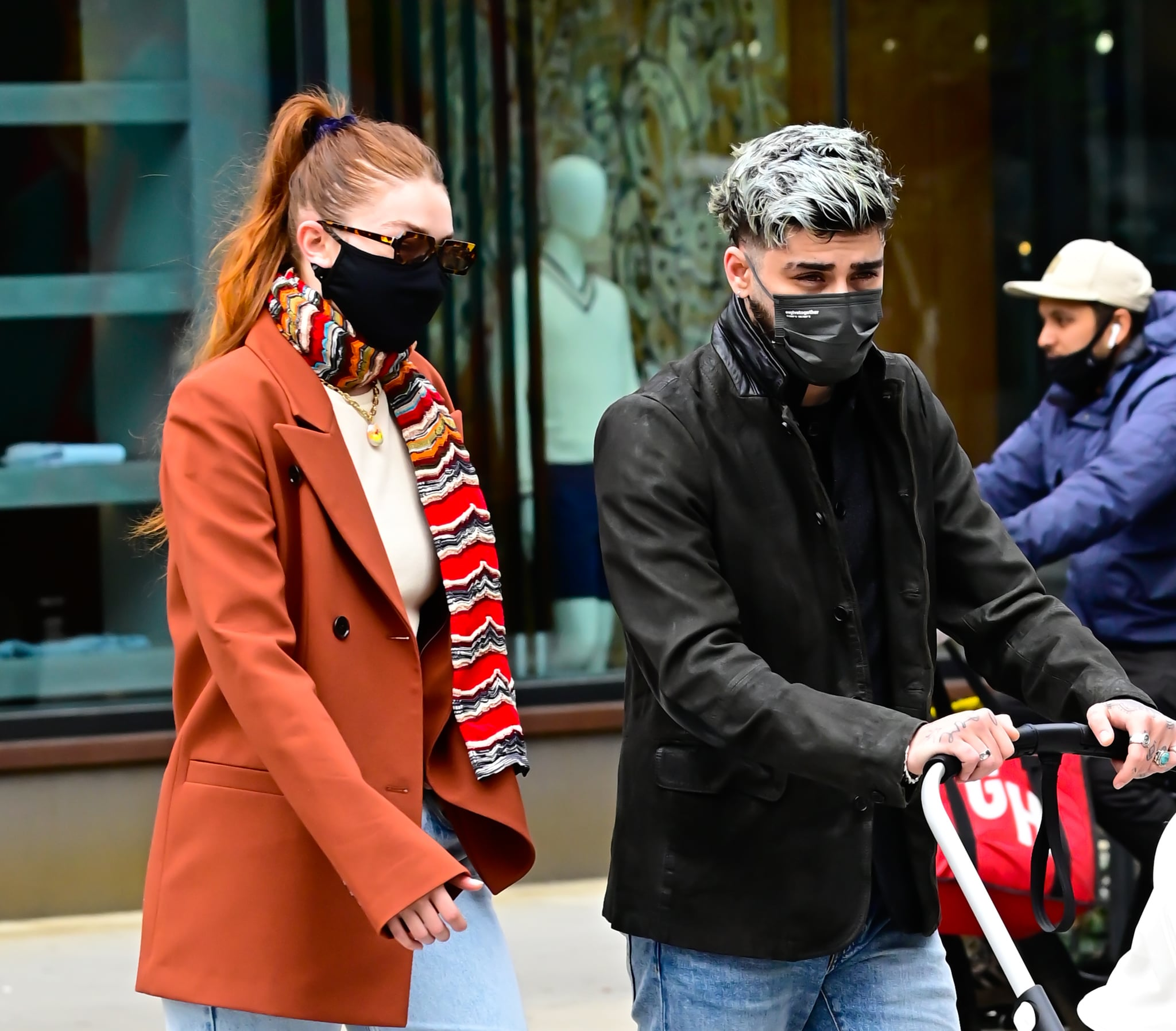 NEW YORK, NY - MARCH 25:  Gigi Hadid and  Zayn Malik are seen walking in SoHo on March 25, 2021 in New York City.  (Photo by Raymond Hall/GC Images)
