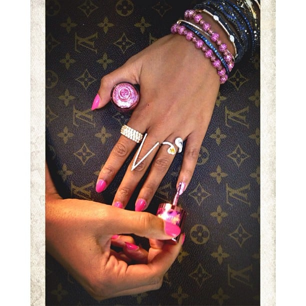 Beyoncé Knowles showed off her support for Breast Cancer Awareness Month with some pink Nails Inc. polish! Source: Instagram user beyonce