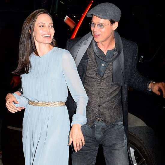 Angelina Jolie Wearing Blue Pleated Dress