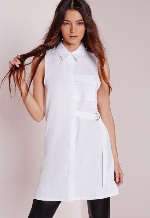 Missguided D-Ring Detail Sleeveless Shirt White ($43)