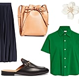 Gucci Princetown Leather Backless Loafers ($695) Banana Republic Pleated Poplin Midi Skirt ($119) Leset Cotton Polo Shirt ($80) Mansur Gavriel Mini Mini Bucket Bag ($465) Shashi Bloom Earrings ($42)