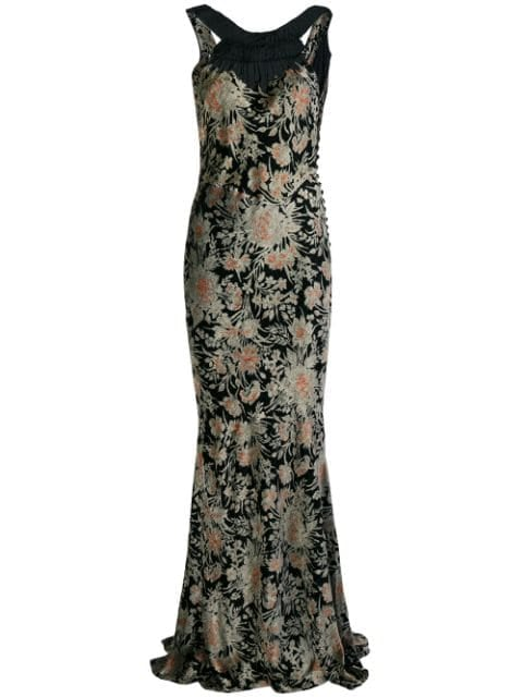 John Galliano Pre-Owned Floral Print Gown