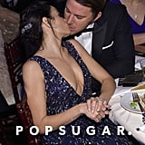 Channing Tatum and Jenna Dewan Tatum shared a sweet kiss in their seats.