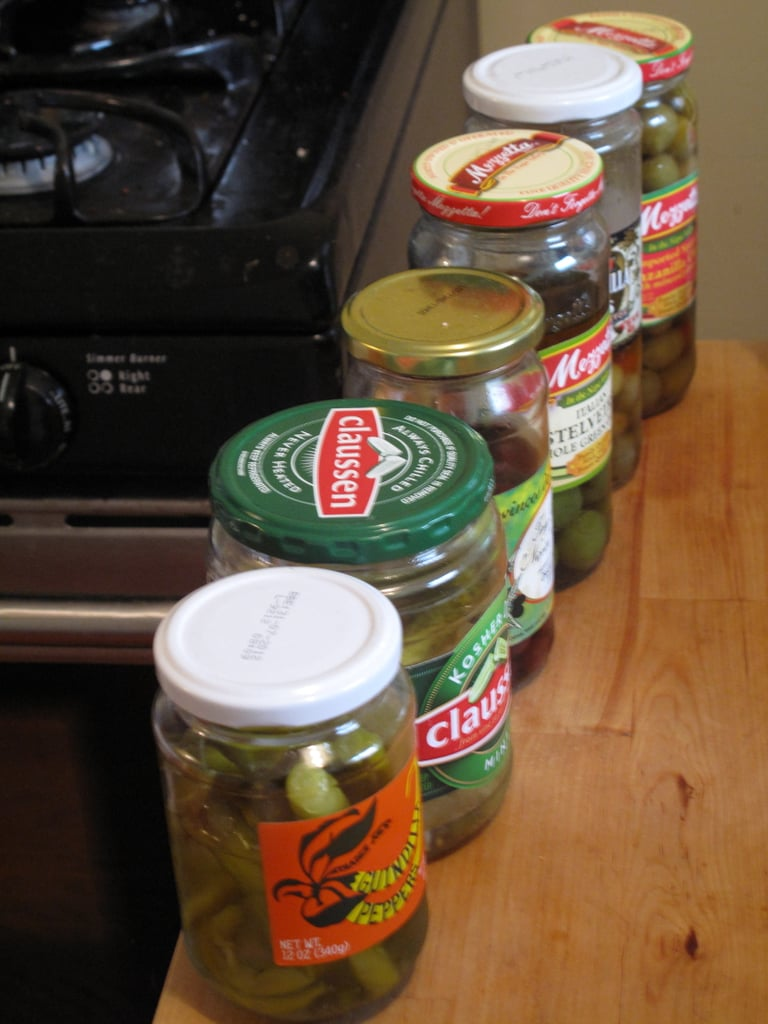 Put like items next to one another. For instance, I had at least six jars of cured or pickled vegetables (!), but they were all different. I placed them all in a line side by side in the refrigerator, so I know exactly what needs to be used up.