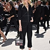 Claudia Schiffer hit the show in a jumpsuit
