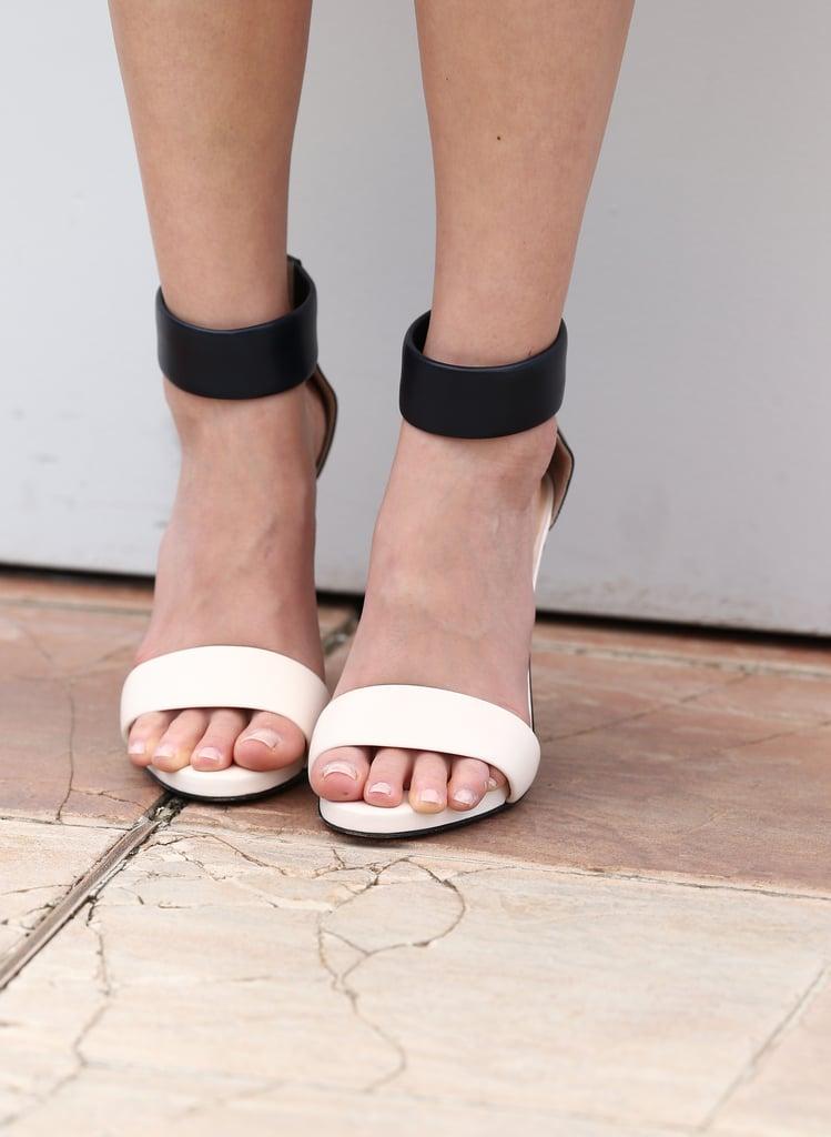 Ahna O'Reilly wore black-and-white Bionda Castana sandals.