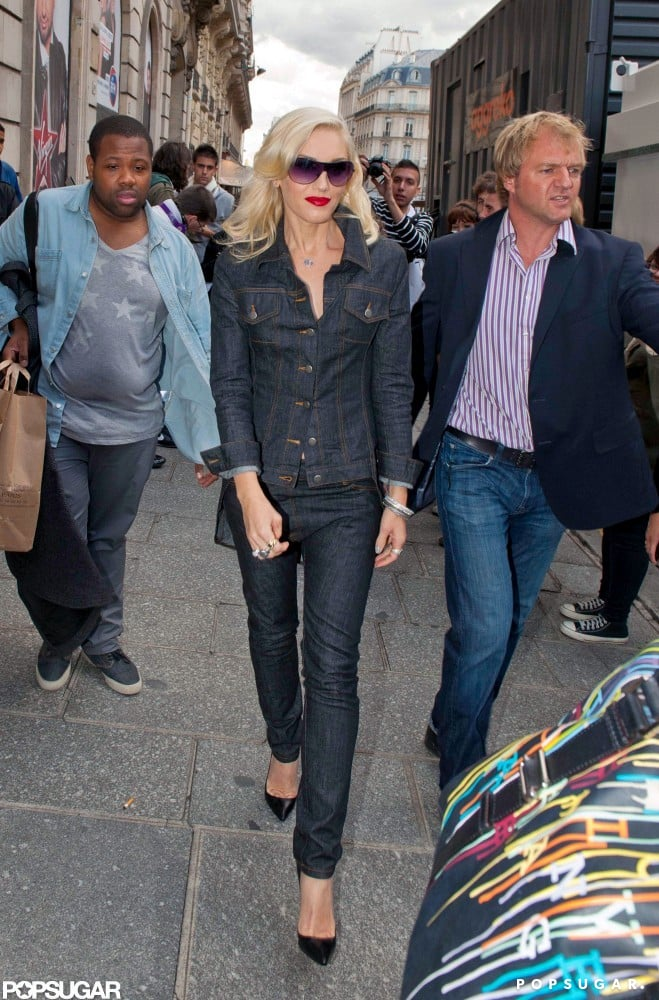 """Gwen Stefani was all smiles yesterday, arriving at a Parisian TV studio for an appearance on France's  C à Vous. Gwen and the boys of No Doubt are currently overseas promoting their latest album, Push and Shove. It's been a busy few days for the group, who kicked off this year's iHeartRadio Music Festival on Friday night in Las Vegas. They were the first of many bands to take the stage and performed a one-hour block of songs ranging from their classic singles like """"Don't Speak"""" to their most recent hit, """"Settle Down."""" So far the band has released two songs from the album, and today they're looking forward to releasing the official music video for """"Push and Shove."""""""