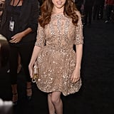 Anna Kendrick stepped out in a luxe, feminine Elie Saab Couture confection with sequin embellishment and studded Christian Louboutin pumps to finish the look.
