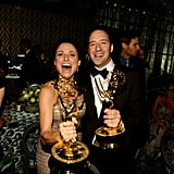 Julia Louis-Dreyfus and Tony Hale got excited about their awards at the 2013 HBO Emmys after party.