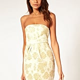 The gold jacquard feels luxe and festively chic.  Asos Cocktail Dress in Gold Jacquard ($82)