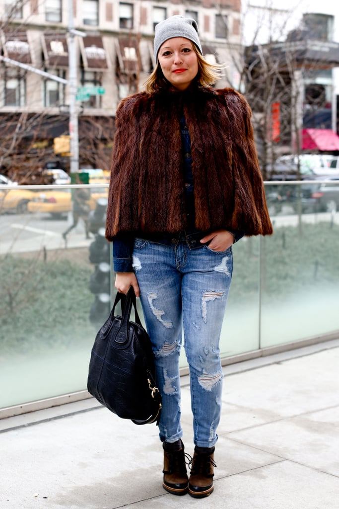 Boyfriend denim never looked so luxe, thanks to a fur jacket.