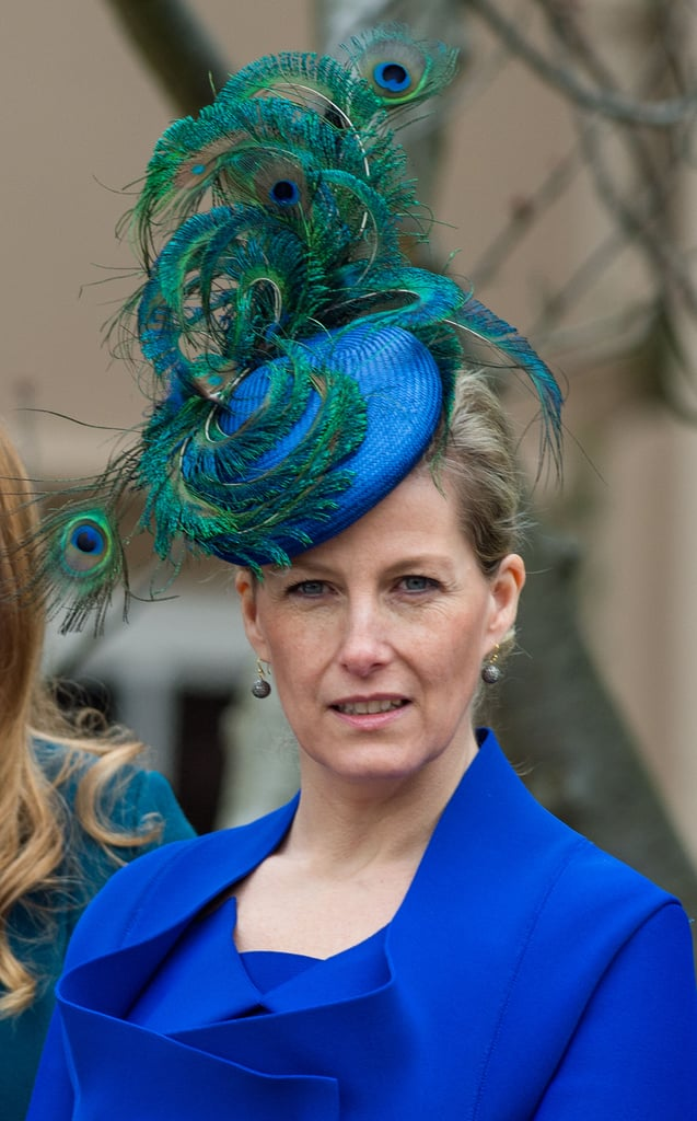 Sophie, Countess of Wessex, wore a peacock-inspired hat to Easter Sunday service this year.