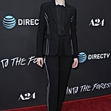 Evan arrived at the premiere of Into the Forest with a striped suit and Anita Ko jewelry. The actress let a dotted collar peek out from under her suit jacket.