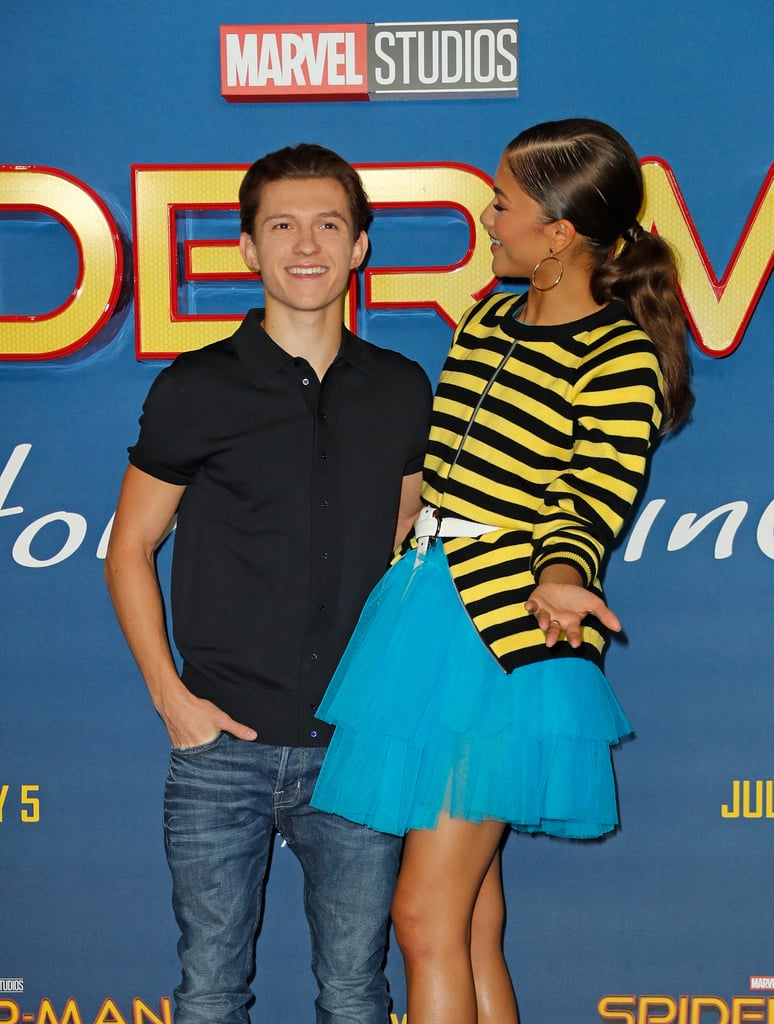 Zendaya and Tom Holland are super close on and offscreen. The two first met after costarring in Spider-Man: Homecoming, and have been giving us cute glimpses of their friendship ever since. And now that the press tour for Spider-Man: Far From Home is in full swing (get it?), they've been stepping out together even more lately. Whether they're battling it out on stage during Lip Sync Battle or they're just goofing off on the red carpet, it's obvious that Zendaya and Tom share a special bond. They've even gone as far as sharing each others' clothes.  While their undeniable chemistry has sparked some dating rumors, the costars have confirmed that they are nothing more than friends. Of course, that doesn't stop us from fawning over their cute friendship. Take a look at Zendaya and Tom's best moments together.       Related:                                                                                                           Zendaya's Instagram Photos Will Have You Wondering How 1 Person Can Be So Stunning