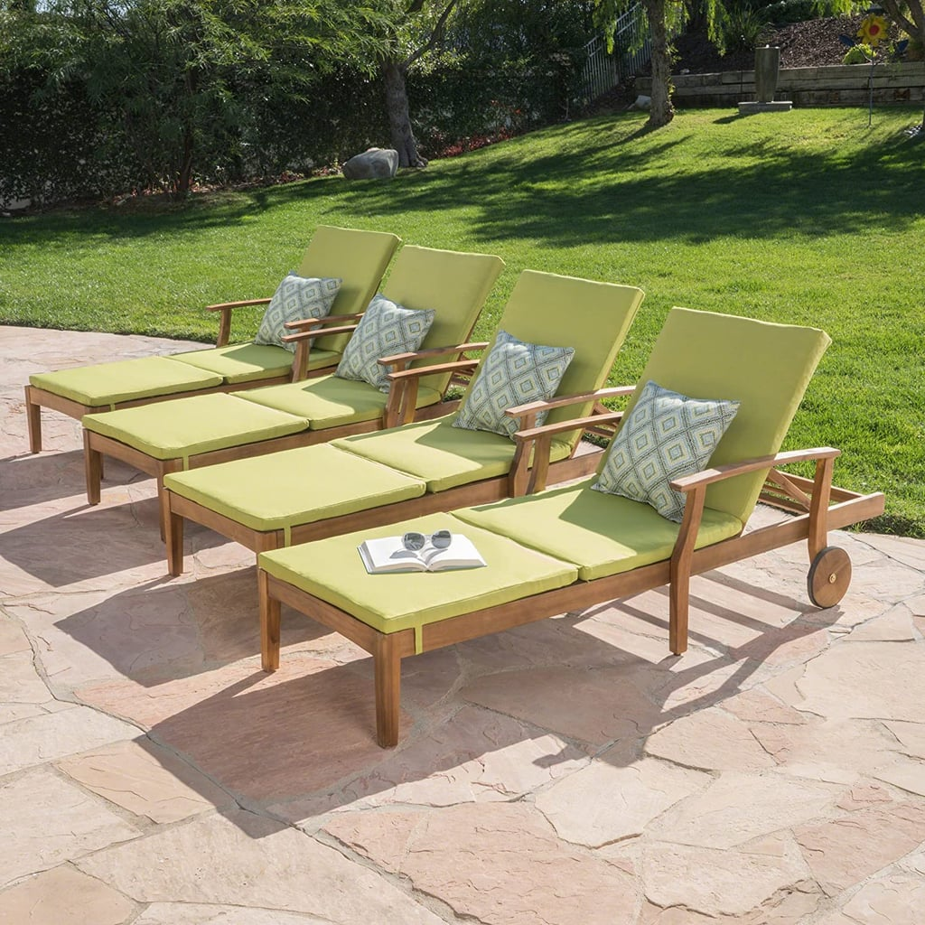 Great Deal Furniture Daisy Outdoor Chaise Lounge with Green Water Resistant Cushion (Set of 4)