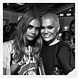 Cara Delevingne hung out with fellow Brit Jessie J at the Glamour Awards — how beautiful does the singer look with a shaved head?! Source: Instagram user caradelevingne